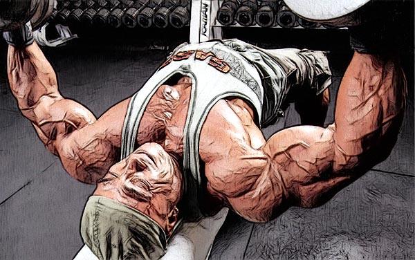 при жиме гантелей работает больше мышц (стабилизаторов), чем при жиме штанги